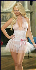 White Tulle Sexy underwear halter neck Lace Chemise Lingerie mini dress size M