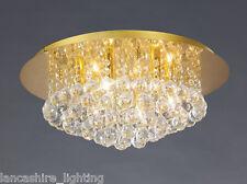 Elegante Flush Soffitto Luce in Oro con Crystal Ball goccioline 6 x 40W