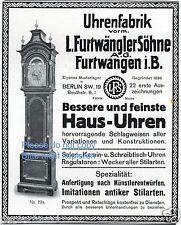 Furtwängler Uhr Furtwangen Reklame von 1912 Standuhr Werbung ad