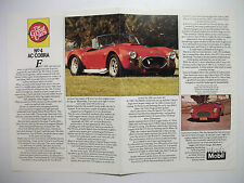 WHEELS THE GREAT CARS SERIES NO.4 AC COBRA POSTER & HISTORY ARTICLE