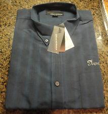 NWT Men's Greg Norman Miami Dolphins L/S Dark Blue Button Up Shirt Medium