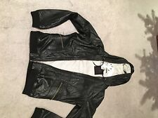 CK ONE GEN HOODED LEATHER BOMBER JACKET RAPPER ROCKER PUNK BIKER NEW WITH TAGS