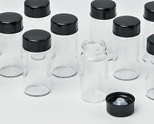 """100 Glass Vials Clear with Black Cone Lined Screw Cap 26mmx60mm .6oz 2.25""""x1"""""""