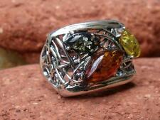 MULTI BALTIC AMBER 925 SILVER RING SIZE Q * US 8.25 SILVERANDSOUL JEWELLERY