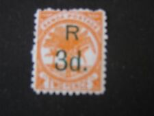SAMOA, SCOTT # 25, 3p SURCHARGED ON 2p VALUE 1895 PALM ORANGE AND BLK ISSUE MLH