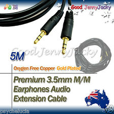 5M Gold Plated 3.5mm M to Male Speaker Earphone Audio Extension Cable Lead Cord