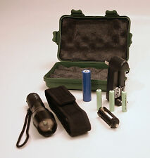 RECHARGEABLE LED FLASHLIGHT w/ BELT POUCH and EXTERNAL CHARGER - 2 BATTERY PACKS