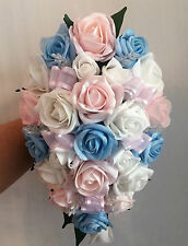 BRIDES TEARDROP BOUQUET , pastel Ivory/baby blue/baby pink with butterflies