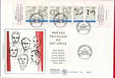 FDC ENVELOPPE 1er JOUR SUR SOIE   GRAND FORMAT 1991  CARNET  PERSONNAGES POETES