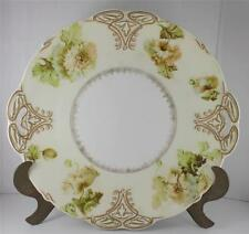 """Ohme Old Ivory Silesia XV Clarion Handled Cake Plate Porcelain 11"""" Floral"""