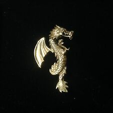 Solid sterling Silver Fighting Dragon Brooch Pin Magical Fantasy Protection 4cm