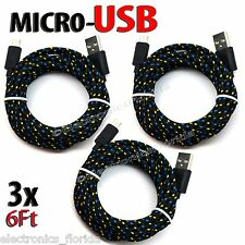 LOt of 3x 6FT Charger Sync Cord Cable for Android Cell Phones universal @B6