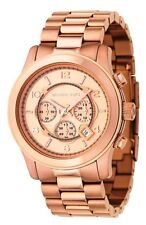 New Michael Kors MK8096 Runway Oversize Rose Golden Watch New in A Box .