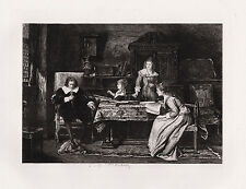 """LOOK 1800s Mihaly MUNKACSY Etching """"Milton Preaching to his Daughter"""" SIGNED COA"""
