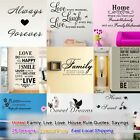 Hot Quotes Family Love House Rule Saying on Life DIY Removable Wall Art Vinyl Au