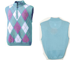 FootJoy Golf Men's Merino Wool Half Zip Argyle Pullover Sweater Vest Mist # XL