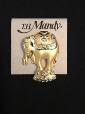 Vintage Rhinestone Brooch Circus Elephant Gold Tone Pin T.H. Mandy New Old Stock