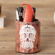 Halloween Sugar Skull Office Pen Holder Makeup Brush Desktop Storage Organizer