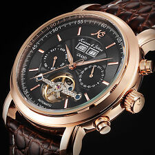 KS Brown Leather Men Tourbillon Date Day Mechanical Luxury Stainless Steel Watch