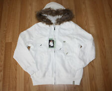 NWT Womens GREEN TEA Ivory Hooded Knit Faux Fur Zip Up Jacket Coat Sz S Small