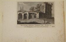 Stampa antica Terme di Tito Domenico Pronti Roma incisione engraving gravure