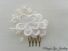 Gold Bridal wedding hair comb slide, lace flowers, Swarovski crystals and pearls