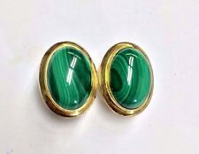 Fabulous! Natural Malachite 18K Yellow Gold over Sterling Silver Omega Earrings