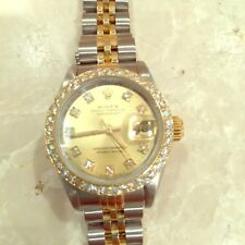 Lady's Rolex Diamond Two Tone Oyster Perpetual Datejust Jubilee Champagne Dial