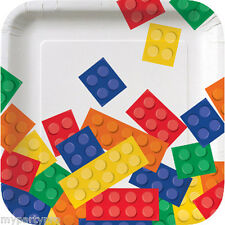 Lego inspired, Building Blocks PAPER DESSERT PLATE Birthday party supplies
