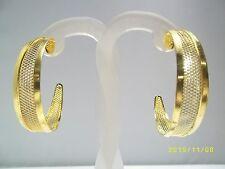 Large Wire Mesh Lattice Gold Tone Hoops Vintage Pierced Earrings Kardashian
