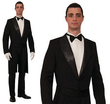 Mens Tuxedo Tailcoat & Trousers Suit Fancy Dress Costume Outfit James Bond Buttl