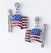 PATRIOTIC 4TH OF JULY RED WHITE & BLUE RHINESTONE SILVER TONE FLAG EARRINGS