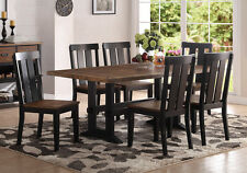 7 pcs Dining Set Rectangular Table Distressed Rustic Seating Chairs Black Legs