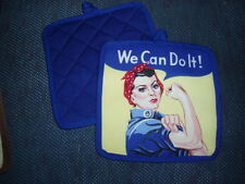 "1 Handcrafted Potholder - ROSIE THE RIVETER, 8""x8"""