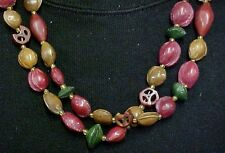 Handcrafted Painted Brown Green Pistachio Nut Bead Necklace Jewelry Used