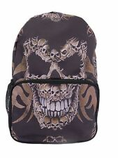 Brown SKULL FACE Print Zaino Zaino Scuola College goth rock punk metal bag