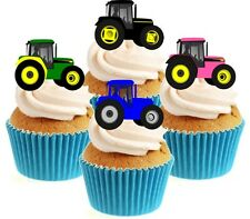 Novelty Tractor Mix 12 Edible Stand Up wafer paper cake toppers Birthday