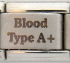 Blood Type A+ Laser Medical Alert for Italian Charm Bracelets Free Medical Card