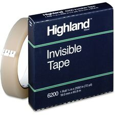"""Highland Invisible Permanent Mending Tape, 3/4 x 2592, 1 Core, Clear"""