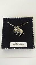 A65 Wild Boar 2 english pewter 3D Platinum Necklace Handmade 18 INCH