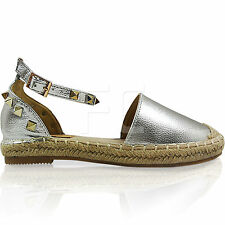 NEW WOMEN LADIES FLAT LOW HEEL ESPADRILLES ANKLE STRAP SUMMER SANDALS SHOES SIZE