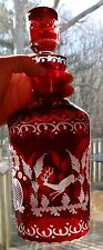 Vtg Egermann Ruby Red Cut Etched Art Glass Decanter Bohemian Deer Stag Grouse