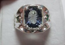 MENS MYSTIC 3CT IOLITE WITH STUNNING EMERALDS STERLING RING