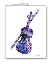 VIOLIN note cards by watercolor artist DJ Rogers