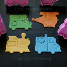 Transportation Little (cars, train, helicopter) plunger cutter with stamp set.