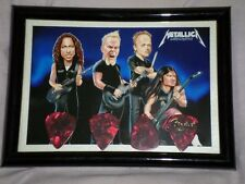 METALLICA HAND SIGNED GUITAR PICKS PHOTO CARD FRAMED