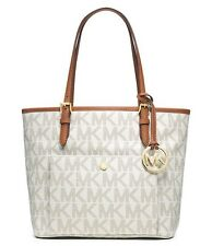 New Michael Kors Medium Jet Set Signature Snap-Pocket Tote vanilla MK monogram