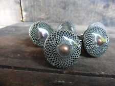 Geometric Pattern Silver White Copper Round Drawer Pull Knob ~ NEW ~ Dresser