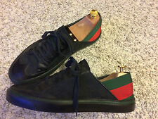 GUCCI Men's Shoes Trainers Sneakers Black Canvas Leather Web EU 44 UK 10 US 11