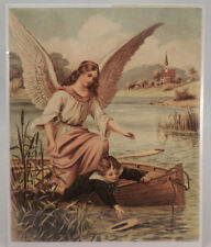 "Victorian Lithograph Print Picture Guardian Angel With Boy In A Boat 8"" X 9.5"""
